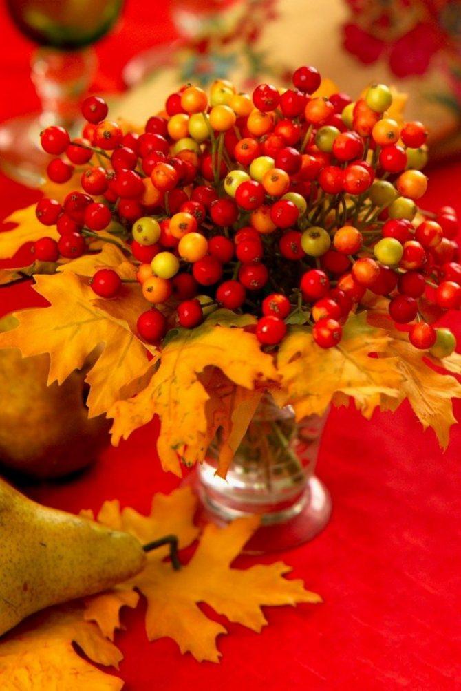 Из гроздей рябины и осенних листьев получаются красивые букеты